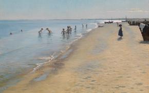 Picture sand, sea, beach, the sky, children, boat, picture, bathing, genre, Peder Severin Krøyer