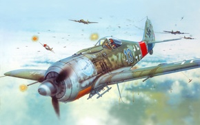 Picture the plane, figure, fighter, Air force, Luftwaffe, Focke-Wulf, Focke-Wulf, FW190A