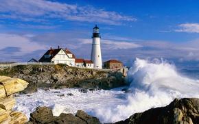 Wallpaper Lighthouse, Maine, Portland