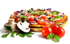 Picture mushrooms, cheese, bow, pizza, tomatoes, olives, mushrooms