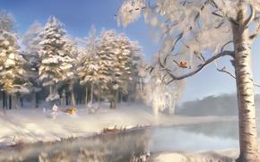 Picture winter, snow, trees, landscape, river, earth, Fox, Fox