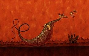 Wallpaper castle, men, Dragon