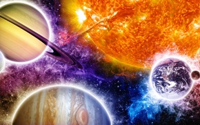 Wallpaper colors, art, sun, planets