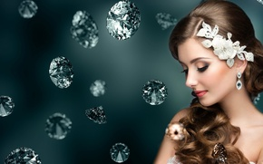 Picture girl, decoration, stones, makeup, earrings, diamond, hair ornaments