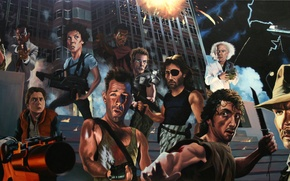 Wallpaper Heroes of the 80's, Rambo, Back to the Future, Strong Oreshek, Terminator, Indiana Jones
