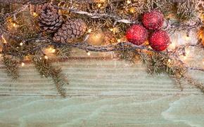 Wallpaper balls, New year, New Year, 2017, Christmas, tree, bumps, snow, snow, garland