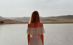 Picture girl, dress, lake, hair