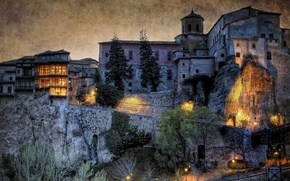 Picture night, lights, castle, wall, HDR, home, lights, Spain, Basin