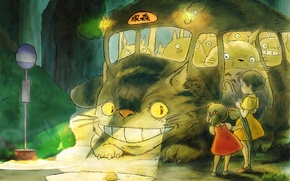 Wallpaper Hayao Miyazaki, Satsuki, Mei, The cat bus, My neighbor Totoro
