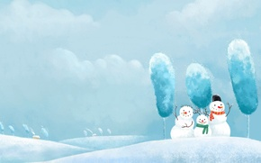 Wallpaper new year, snow, snowmen