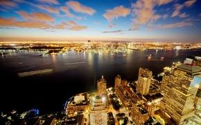 Picture night, lights, New York, panorama, USA