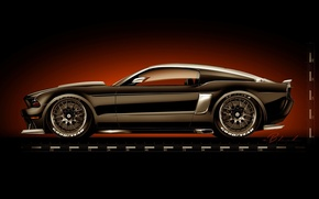 Picture figure, muscle car, tuning, Ford, Ford Mustang, Hollywood Hot Rods