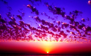 Picture sea, sunset, clouds, horizon