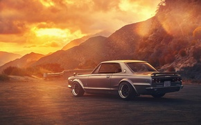Picture Nissan, GTX, Car, 2000, Sunset, Skyline, Old, Rear