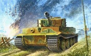 Wallpaper PzKpfw VI sdkfz 181 aust.e, France, 102 battalion, the Germans, tiger, figure, heavy tank, Normandy, ...