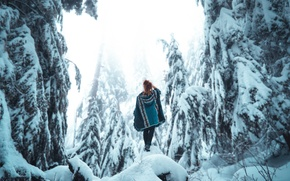 Picture winter, girl, snow, Lizzy Gadd