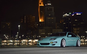 Picture night, the city, green, Nissan, Nissan, front, 300zx, fairlady