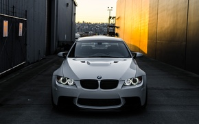 Picture white, light, bmw, BMW, white, lane, the front, day, e92