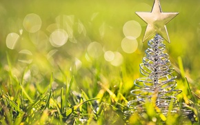 Picture macro, toy, figure, tree, grass, bokeh, tree, star, green