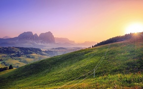 Picture grass, mountains, sunlight, view, fabulous scenery
