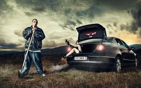 Picture girl, man, car, shovel, Daniel Ilinca