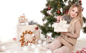 Wallpaper decoration, new year, holiday, girl, Jeff Milton, tree