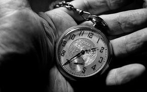Picture black and white, hand, clock