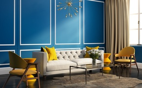 Picture room, sofa, chairs, interior, pillow, window, bright colors