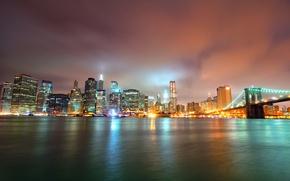 Picture night, bridge, lights, skyscrapers, Bridge, Brooklyn, Night, Park, Manhattan, NYC, Lower