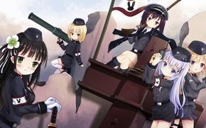 Picture weapons, girls, anime, flag, art, gochuumon wa usagi desu ka?, ujimatsu chi warned, tedeza rize, …