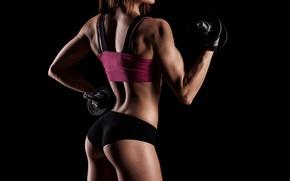 Wallpaper shadows, workout, dumbbells, woman