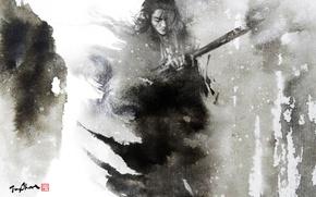 Picture figure, sword, watercolor, male, Samurai