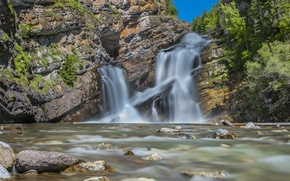 Picture mountains, river, stones, waterfall, Canada, Albert, Alberta, Canada, Canadian Rockies, Canadian Rockies, Waterton Lakes National …