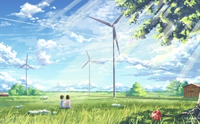 Picture the sky, girl, clouds, trees, nature, home, anime, art, guy, windmills, yuuko-san