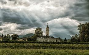 Wallpaper field, the sun, clouds, mountains, village, Church