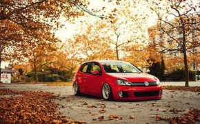 Picture red, tuning, volkswagen, Golf, golf, gti