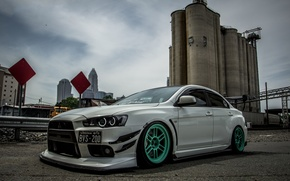 Picture white, mitsubishi, tuning, lancer, evo