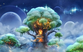 Picture the sky, clouds, tree, dragon, planet, stars, fantasy, art, house, flight, house, fantasy, sky, style, ...