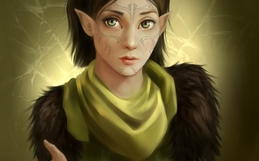 Wallpaper Dragon Age 2, art, MAG, DOLICA, girl, elf, tattoo, Merrill