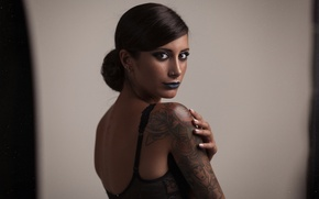 Picture girl, face, pose, body, makeup, tattoo, shoulder