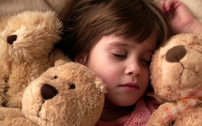 Wallpaper night, children, situation, mood, stay, mood, girls, toys, bed, sleep, the situation, bears, girl, pillow, ...