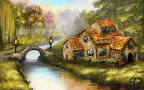 Picture forest, trees, bridge, house, river, art, lights, IVA