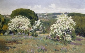 Picture flowers, picture, Aureliano de Beruete and Moret, trees, the bushes, Flowering Hawthorn, hills, landscape, spring
