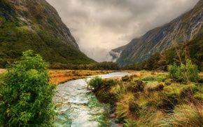 Wallpaper river, mountains, clouds