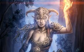 Picture girl, fire, magic, helmet, Elder Scrolls V: Skyrim