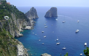 Picture sea, mountains, nature, the ocean, boat, mountain, beauty, boat, Italy, the grotto, Capri