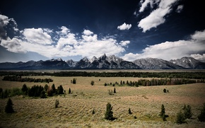 Wallpaper Wyoming, the sky, rocky mountains, clouds