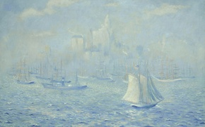 Wallpaper New York Harbor, picture, boat, Theodore Earl Butler, seascape, New York, sail