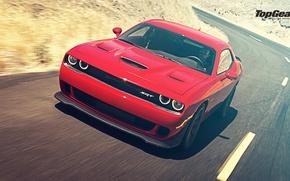 Picture Top Gear, Dodge, Challenger, Speed, Front, Hellcat, SRT, Rear, 2015