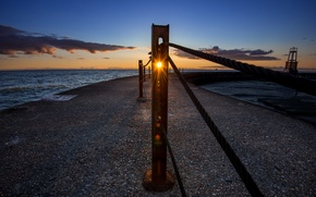 Picture sea, landscape, sunset, the fence